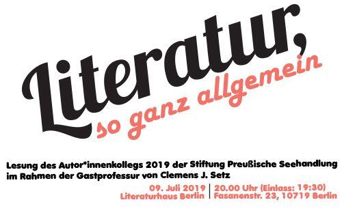 Abschlusslesung des Autor*innenkollegs mit Clemens J. Setz